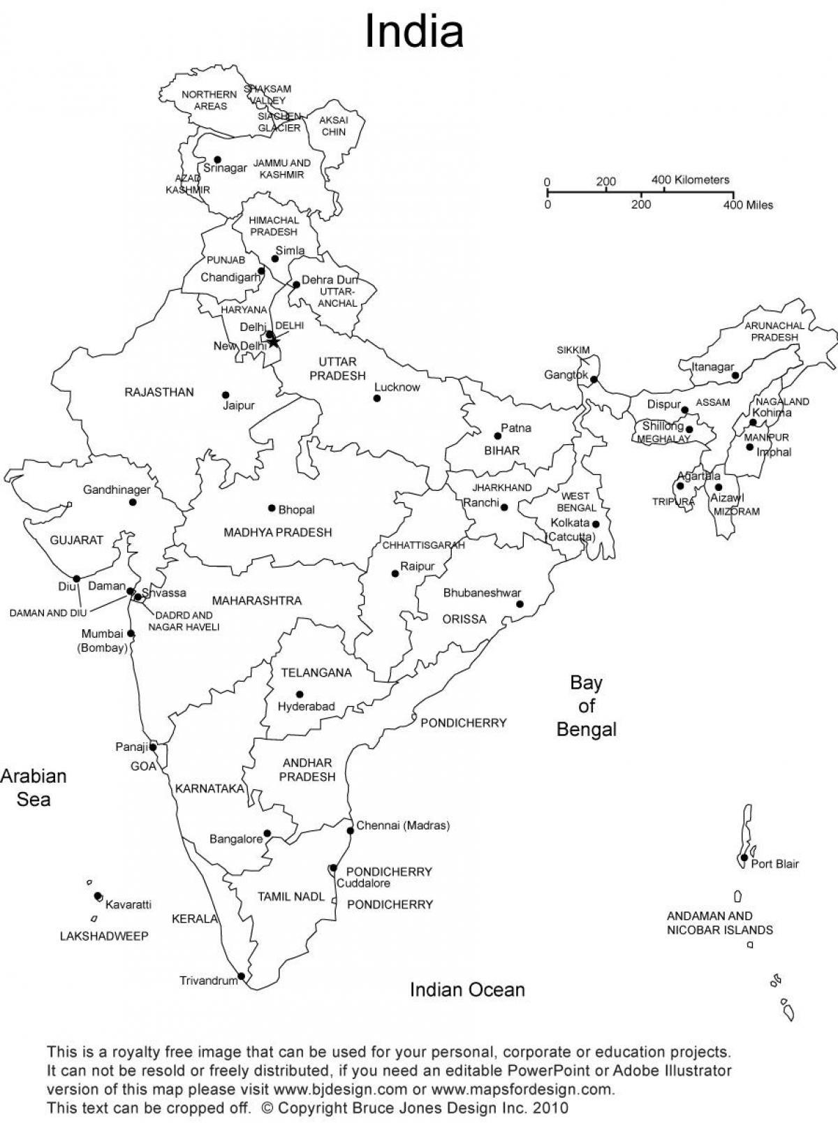 Indie Mapa Se Staty Blank Slepa Mapa Indie Se Staty Jizni Asie