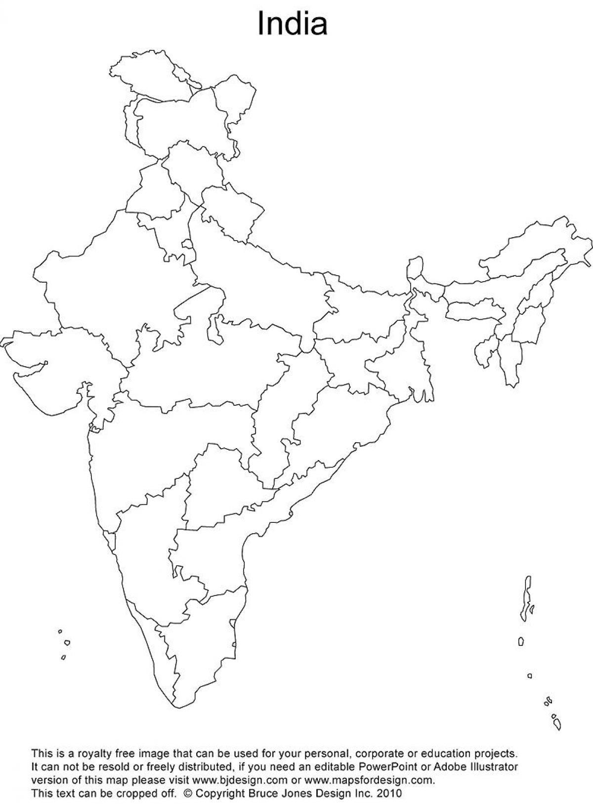 Prazdne Indie Politicke Mape Slepa Mapa Indie Politicke Jizni