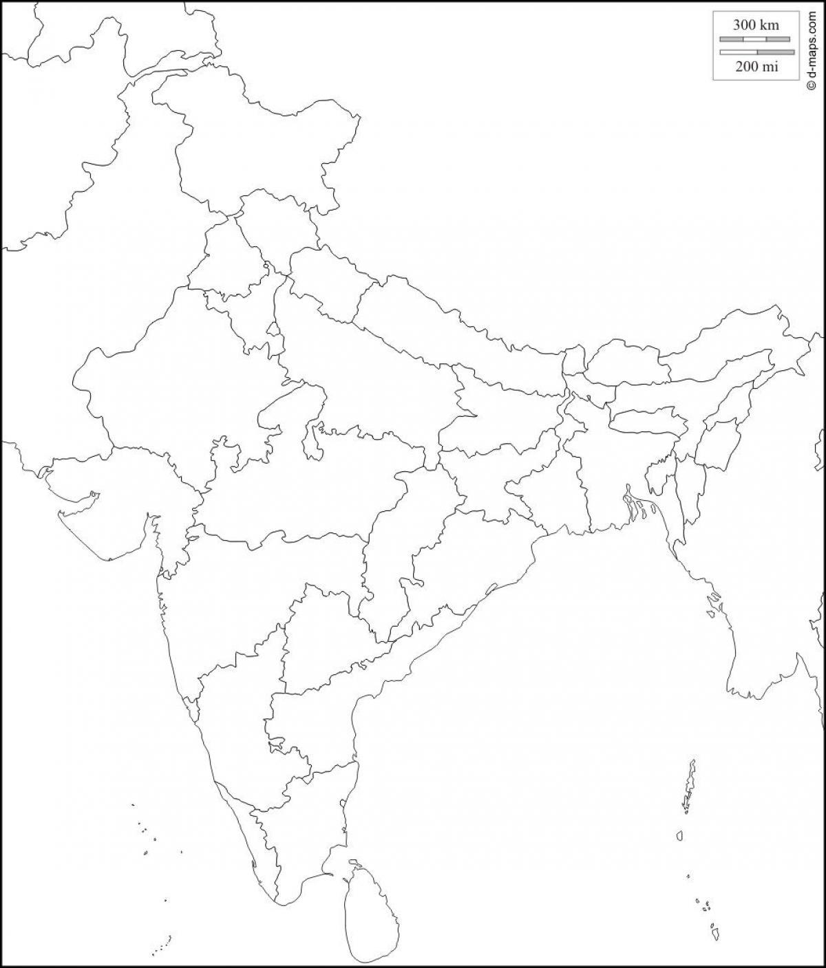 Slepa Mapa Indie S Statni Hranice Prazdne Indie Mapa S Statni
